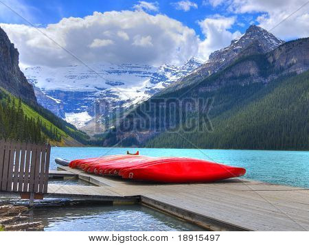 Canoes On Beutiful Lake Louise