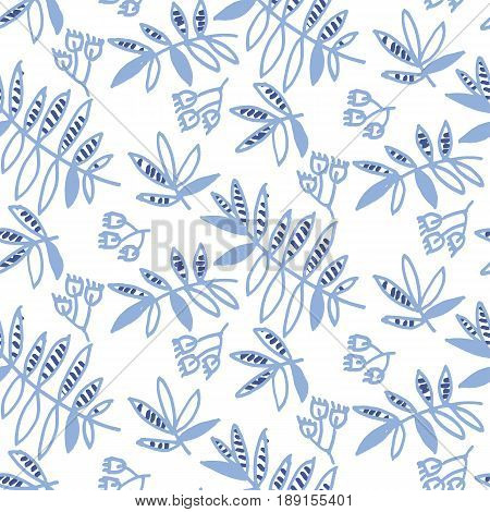tender floral motif vector illustration. tropical leaves and flowers seamless pattern on white background. hand drawn naive style natural design