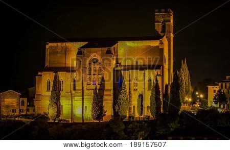 Cathedral at night in the medieval town of Siena