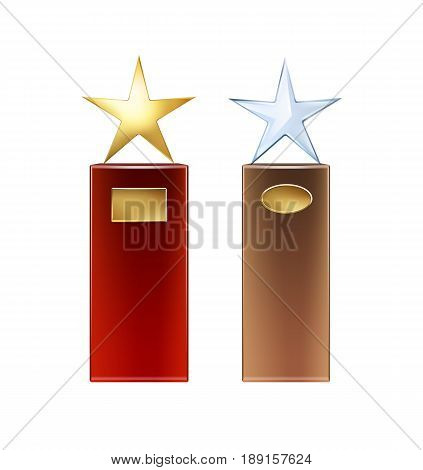 Vector golden, glass star trophies with big red, brown base and golden signboards for copyspace front view isolated on white background