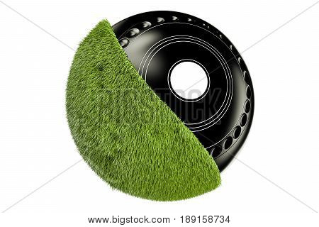 Grassy Lawn Bowl concept 3D rendering isolated on white background