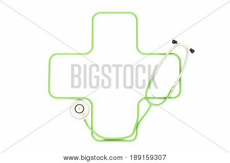 Medical concept stethoscope in the shape of green cross. 3D rendering isolated