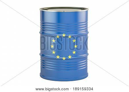 Oil barrel with flag of EU. Trade concept 3D rendering