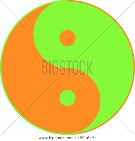 yin yang, taoistic symbol of harmony and balance in recycling colors, ecological concept
