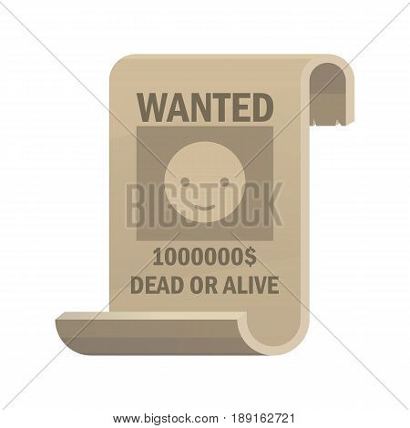 Wanted dead or alive icon. Vintage western poster with cowboy smiley face. Vector flat illustration