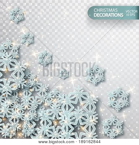 Christmas decoration. New Year background with shimmering particles and magical overflows, silvery glitter. Illustration isolated on a transparent background. Vector Christmas Abstract Background