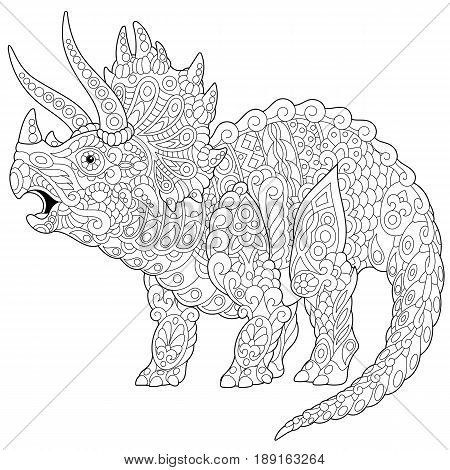 Stylized triceratops dinosaur living at the end of the Cretaceous period isolated on white background. Freehand sketch for adult anti stress coloring book page with doodle and zentangle elements.