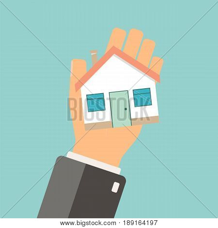 Real estate concept. Agent holding home. Buing house. vector illustration.