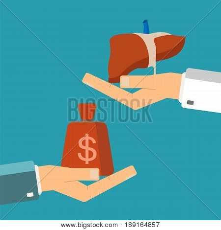 Concept of organ transplant. Buying liver. Hand holding human liver buyer holding money.