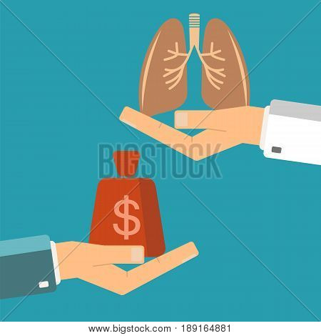 Transplant lungs. Patient hand hold money doctor hold human lungs. Healthcare lungs.