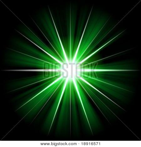 green star or supernova over black