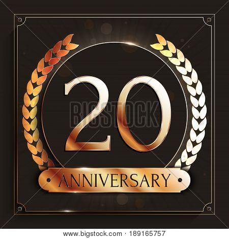 20 years anniversary gold banner on dark background. Vector illustration.