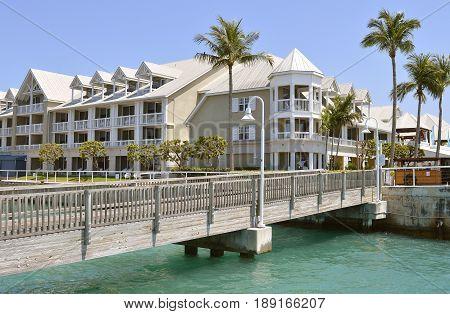 Key West Florida Keys Florida USA - May 15 2017 : Sunset Key cottages in Key West Marina