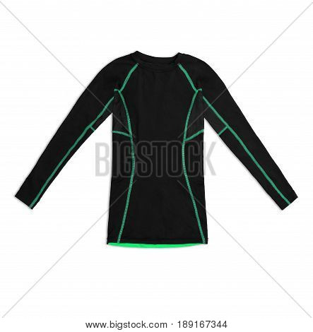 Black Long Sleeve Sports Shirt With Green Seams Isolated On White Background