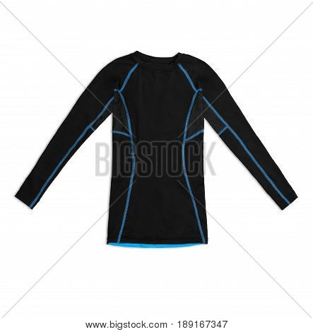 Black Long Sleeve Sports Shirt With Blue Seams Isolated On White Background