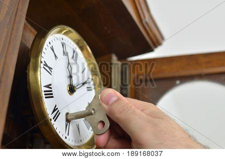 Winding A Wall Clock