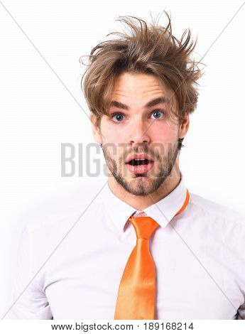 Bearded man short beard. Caucasian surprised macho with moustache and ruffled hair have acid orange tie on white shirt isolated on white studio background surprised emotion concept