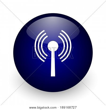 Wifi blue glossy ball web icon on white background. Round 3d render button.