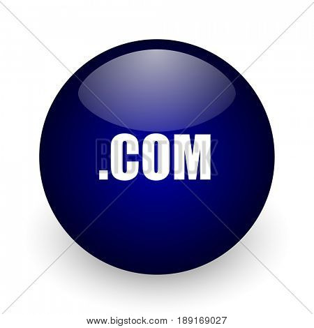 Com blue glossy ball web icon on white background. Round 3d render button.