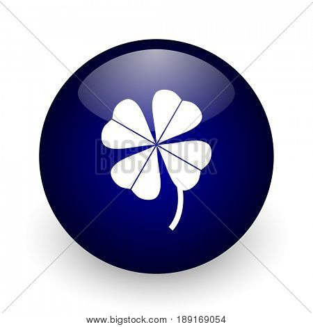Four-leaf clover blue glossy ball web icon on white background. Round 3d render button.