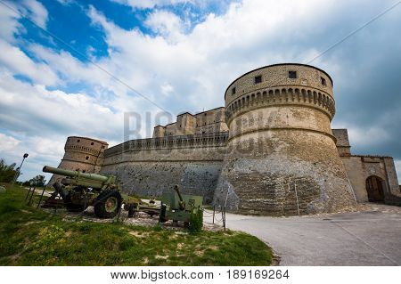 Medieval old fortress of in San Leo town of the Marche regions in Italy next to Rimini