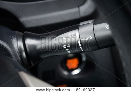 Car windshield wipers and washer switch control; Close-up view