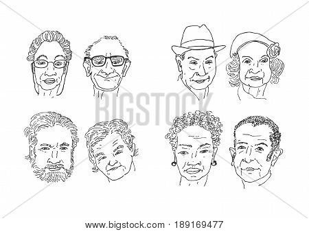 Old people faces drawing. Men and women faces hand drawing cartoon. Faces sketching vector.