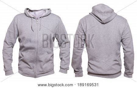 Blank sweatshirt mock up template front and back view isolated on white plain gray hoodie mockup. Hoody design presentation. Jumper for print. Blank clothes sweat shirt sweater