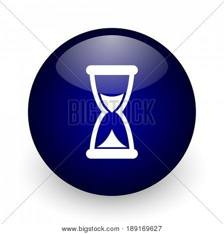 Time blue glossy ball web icon on white background. Round 3d render button.