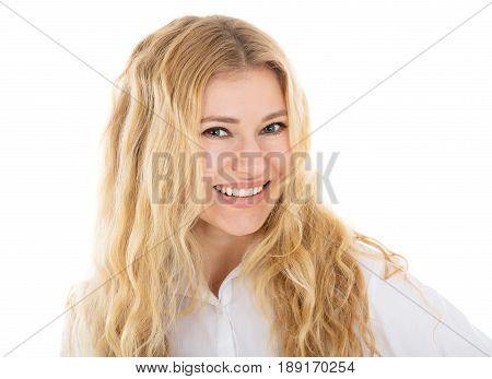 Portrait Of Happy Young Hostess In Front Of White Background