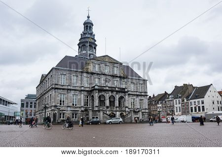 MAASTRICHT NETHERLANDS - FEBRUARY 20 2016: City Hall on Market square in the historical center of Maastricht a city and a municipality in the southeast of the Netherlands