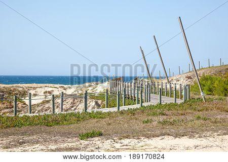 Path for walking along coast, Hiking paths of wood on coast