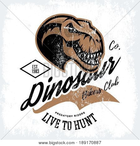 Vintage furious dinosaur bikers gang club tee print vector design. Savage monster head street wear t-shirt emblem. Premium quality wild reptile superior mascot professional logo concept illustration.