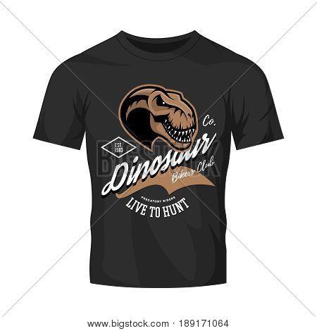 Vintage furious dinosaur bikers gang club tee print vector design. Savage monster head street wear t-shirt emblem. Premium quality wild reptile superior mascot professional logo illustration.