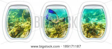 Three porthole frame windows on female apnea swims in tropical turquoise sea of Racha Noi, Phuket in Thailand. Undersea background. Travel concept.