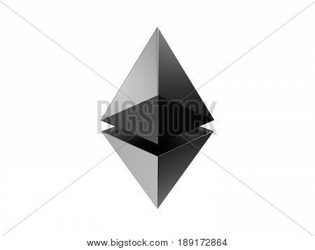 Ethereum crypto currency metal shiny art icon for apps and websites. Ethereum logo 3d rendering