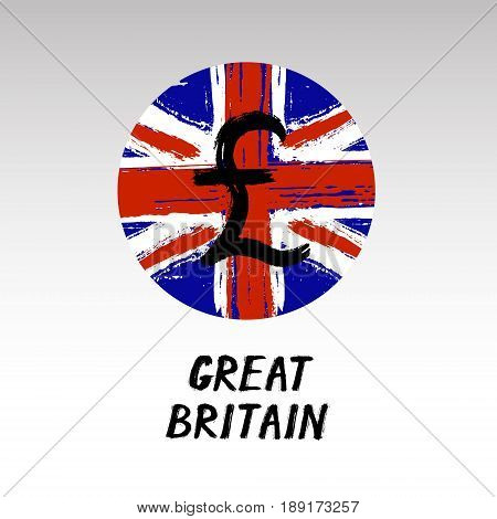 Currency - Grunge Round Icon - Great Britain
