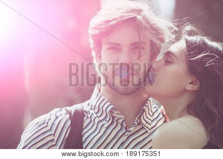 Kiss Of Couple In Love Of Woman And Man