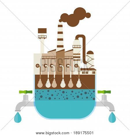 Filter water filtration and purifier system. Save clear drinking water. Water treatment. Flat vector cartoon illustration. Objects isolated on a white background.