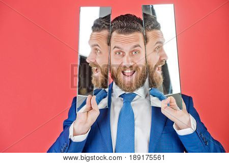 Happy Face Of Bearded Hipster Man, Businessman Reflecting In Mirror