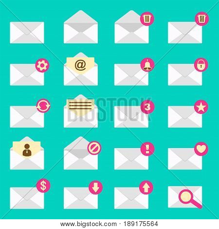 Set of email envelope icon. Sign of letter alert and message icon app for phone telephone and devices. Flat vector cartoon illustration. Objects isolated on a white background.