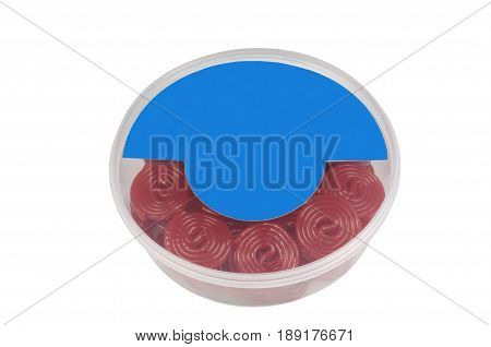 box of licorice isolated on whitespace for text