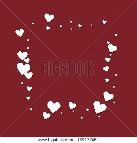 Beautiful White Paper Hearts. Square Abstract Mess On Wine Red Background. Vector Illustration.