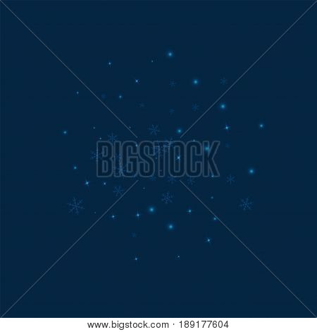 Sparse Glowing Snow. Sphere On Deep Blue Background. Vector Illustration.