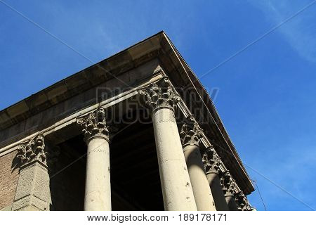 Detail of the Roman temple of the city of Vic Barcelona province Catalonia Spain