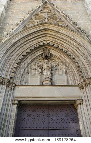 Gothic tympanum in the Cathedral of Manresa La Seu Barcelona province Catalonia Spain