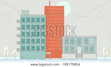 City Street stroke style illustration skyskrapers illustration
