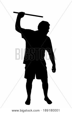 Silhouette Of Man Applying Corporal Punishment With Cane