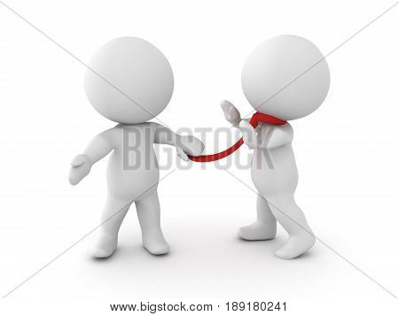 3D illustration of demanding boss grabbing an employee by the neck tie image presenting the scenario of having an angry boss.