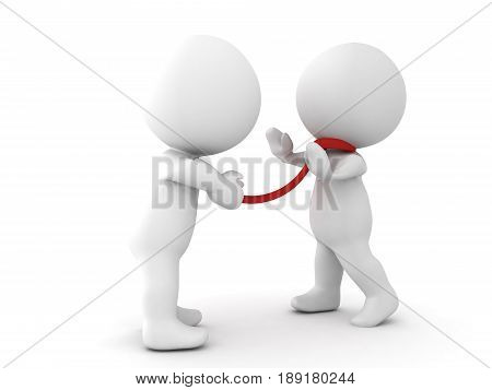 3D Character grabbing another character by the tie. Image depicting aggressive behavior in corporate enviromnment.